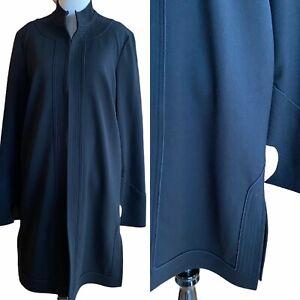 Elizabeth And James Women L Black Silk Lined Duster Cardigan Coat Hook Closure