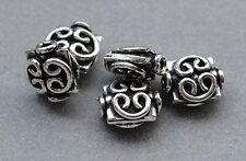 925 Silber Zwischenteile, Spacer Perlen, Altsilber, DIY Vintage Schmuck, Kissen