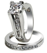 Classy Womens Stainless Steel Princess Cut Wedding Engagement Ring Set Size 5-11