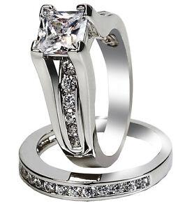Classy Women Stainless Steel Princess Cut Wedding Engagement Ring Set Size 5-11