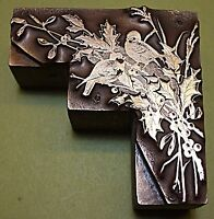 "GORGEOUS ""TWO BIRDS IN FOLIAGE"" BOOKPLATE PRINTING BLOCK."