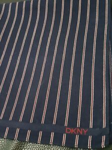 "DKNYMen Blue Red Striped Square Cotton Handkerchief 18"""