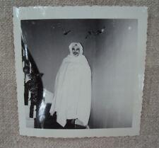 Halloween Child in Ghost Ghoul Costume Black & White Photo 1950s Original E