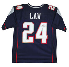 Patriots Ty Law Authentic Signed Blue Jersey Autographed BAS Witnessed