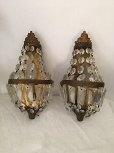 PAIRE D'APPLIQUES A PAMPILLES MONTGOLFIERE STYLE EMPIRE LOUIS XV  lustre lampe