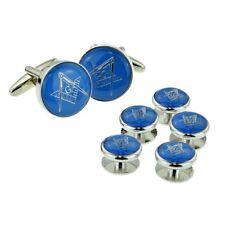 Blue & Silver Enamelled Masonic Cufflinks with G & Button Stud Set X2Aj321A