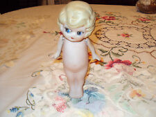 Antique Bisque Doll 61/2' Long Made In Japan Jointed Arms Blonde Hair Blue Eyes