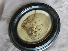 antik Biedermeier Rahmen oval mit Küfer Böttcher Bild im Schellack Bilderrahmen