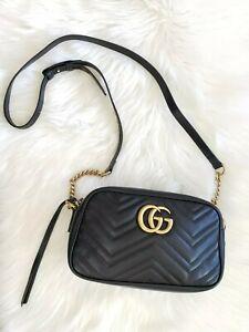 🌺Gucci GG Marmont Small Black Matelassé Chevron Leather Shoulder Bag 447632