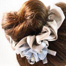 USA Hair Ring Handmade Elastic Beads rope hairband rubber Ponytail GRAY fabric