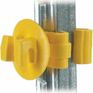 """Electric Fence Insulator Snug 1"""" T Post Yellow Barbed Pasture Farm 25 Count"""