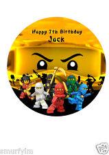 "NINJAGO PERSONALISED BIRTHDAY CAKE TOPPER EDIBLE WAFER PAPER 7.5"" ninja Lloyd"