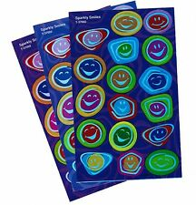 3 Sheets Sparkly Holographic Smiles Smiley Face Scrapbook Stickers!