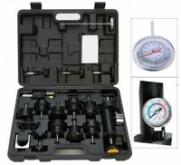 18PC Radiator Pump Pressure Cooling Leak Tester Test Kit Cap Pump Thermometer
