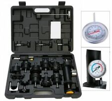 18PC Radiator Pump Pressure Cooling Leak Tester Test Kit Cap Pump Thermometer