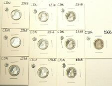 1968 Canada 10 Cents Silver Lot of 10 Uncirculated Coins from Roll #5228