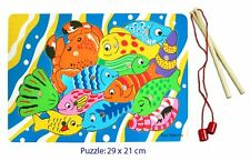 NEW WOODEN Magnetic Fishing Puzzle Game - 2 Rods & 13 Pieces to Fish - 29 x 21cm