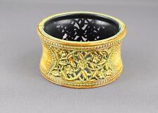 Brown Grn bangle bracelet carved floral plastic hinged wide bangle cuff flowers