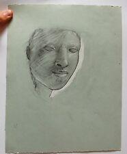 Dessin original au crayon non signé Etude de visage
