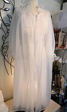 LOVELY Vtg Bridal White Nightgown Peignoir Set by Luxite Holeproof sz 34/32 S