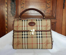 BURBERRY S SAC VINTAGE 2000'  HORSEFERRY CHECK CUIR GOLD   ETAT NEUF
