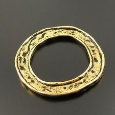 20X Antique Style Gold tone Alloy Ring Circle Charm Pendants 30mm