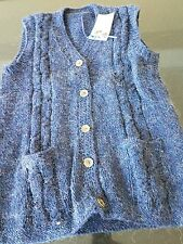 Vintage Hand Knit Sweater-Navy Blue Wool Button Down Vest with Pockets