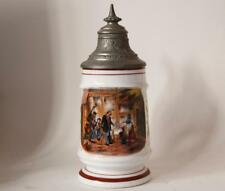 Antique Porcelain Beer Stein Hand Painted Humorous Scene Erst Bezahlen c.1890s