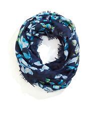 J. Jill - Very Beautiful Navy Blue Watercolor Leaves Infinity Scarf - NWT