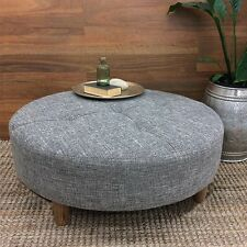 LARGE ROUND COFFEE TABLE OTTOMAN FABRIC SIDE STOOL CHAIR FOOT REST 90CM CHARCOAL