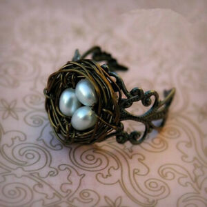Unique Fashion Woman Black Nest Pearl Gold Filled Wedding Ring Party Adjustable