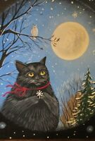 4X6 XMAS POSTCARD PRINT LE 2/200 RYTA BLACK CAT SNOW OWL CHRISTMAS SNOWFLAKE ART