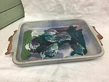 Studio S Artist Art Pottery Large Casserole Baking Dish Handcrafted Purple Blue