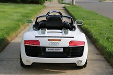 Audi R8 White Licensed Dual Electric Motor 12V Kids Ride-On Car & Remote Control