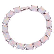 "White Fire Opal Silver Fashion Women Jewelry Gems Chain Bracelet 7 1/4"" OS574"