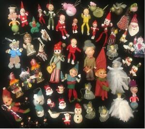 55 GREAT VINTAGE MCM KITSCH CHRISTMAS TREE ORNAMENTS - SANTA/ ELVES/ HOLT HOWARD