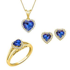 14K YELLOW GOLD OVER HEART SAPPHIRE PENDANT EARRINGS RING SET WEDDING GIFT