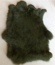 2XHigh Quality Dyed Rabbit Skin Pelt Real Fur Hide Craft Grade Tanned Army Green