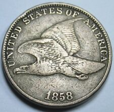 1858 Dramatic RPD Rare Flying Eagle US VF 1 Cent Penny Antique Mint Error Coin