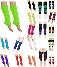 Ladies Girls TEEN 80'S DANCE PLAIN STRIPPED LEG WARMERS FANCY DRESS LEGWARMERS