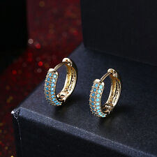 A PAIR OF TURQUOISE BLUE 18K GOLD PLATED HOOP HUGGIES EARRINGS. NEW.