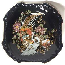 Vintage Kutani Porcelain Dish Japan Cobalt Blue Gold Pheasants Hand Painted