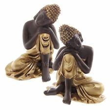 Pair of Thai Buddha Head on Knee Brown and Gold Figures 6cm High Figurine