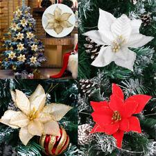 10X Christmas Poinsettia Glitter Flower Xmas Tree Hanging Party Decoration 13CM