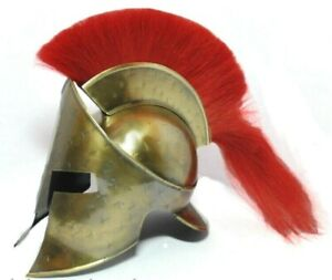 Antique Ancient Armour King Leonidas 300 Spartan Medieval Helmet With Red Plume