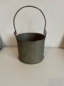 Vintage Old Dairy? Tin Bucket With Handle Very Old