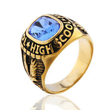Gold High School Blue Gem Ring Bald Eagle Size7-12 Stainless Steel Vintage Cool