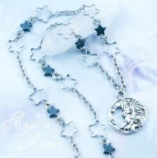 Celestial Dragon Necklace - Handmade Jewelry - Hematite Stars - Magic - Space
