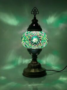 Turkish Moroccan Mosaic Lamp Tiffany Green Glass Desk Table Lamp with Free Bulb