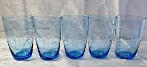 1970's Blue Vintage Drinking Glasses